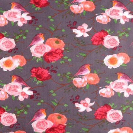 Metráž: Bavlněná látka růže - tm. béžová