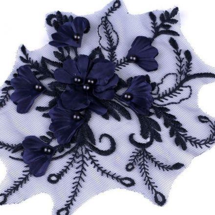 Galanterie: Aplikace / vsadka s 3D květy - modrá