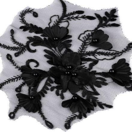 Galanterie: Aplikace / vsadka s 3D květy - černá