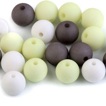 Galanterie: Plastové korálky matné 10 mm (20ks) -mix
