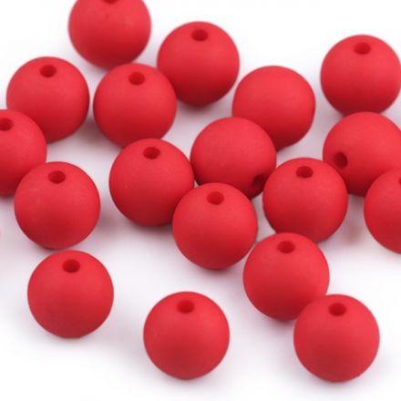 Galanterie: Plastové korálky matné 10 mm (20ks) - červená