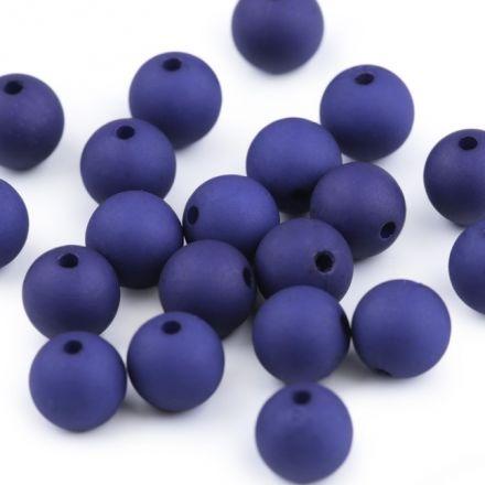 Galanterie: Plastové korálky matné 10 mm (20ks) - modrá