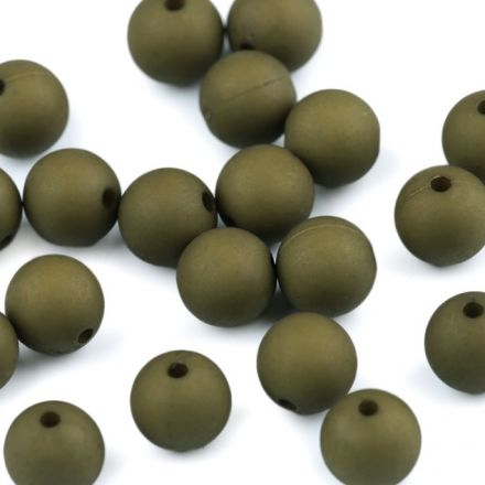 Galanterie: Plastové korálky matné 10 mm (20ks) - khaki