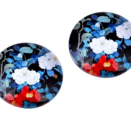 Galanterie: Kabošon květy 18 mm - modrá