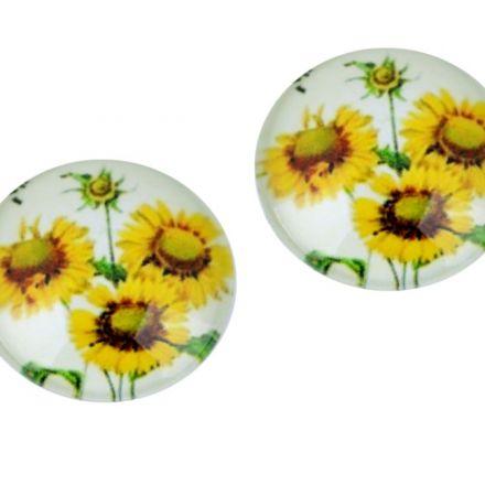 Galanterie: Kabošon slunečnice 18 mm - žlutá