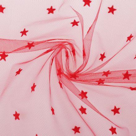 Metráž: Tyl oděvní s hvězdičkami - červená