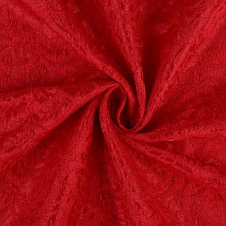 Metráž: Krajka podložená saténem - červená