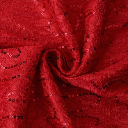 Metráž: Krajka s flitry podložená saténem - červená