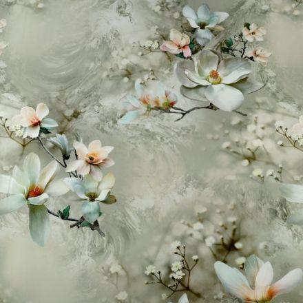 Metráž: Satén digitální potisk květů magnólie - khaki