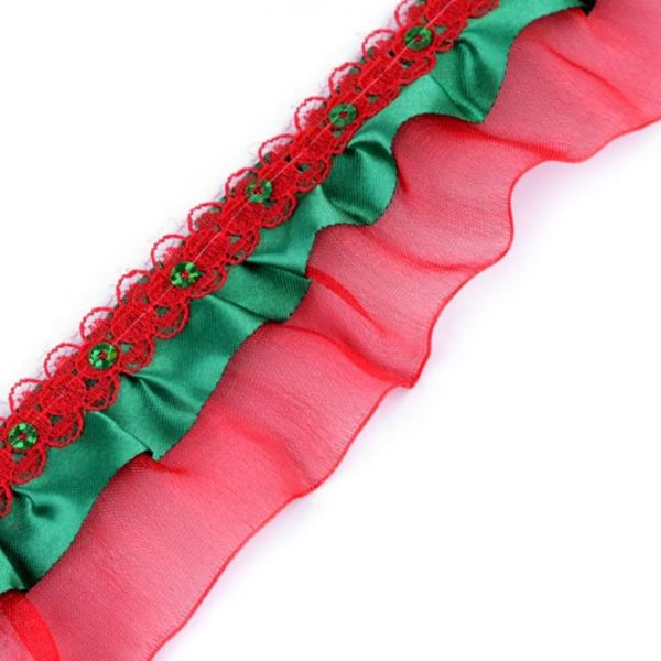 Vánoční volánek šíře 48 mm - červená