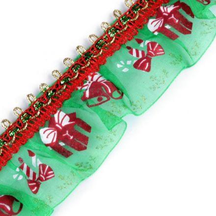Galanterie: Vánoční volánek šíře 40 mm - zelená