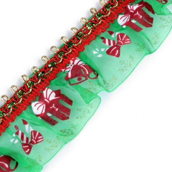 Vánoční volánek šíře 40 mm - zelená