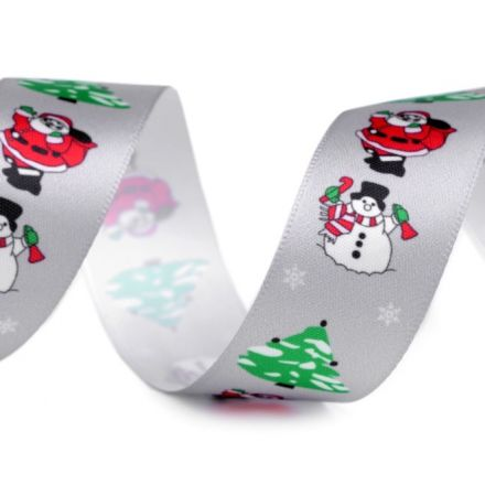 Galanterie: Vánoční saténová stuha šíře 26 mm - šedá
