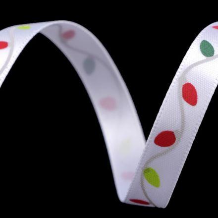 Galanterie: Vánoční saténová stuha šíře 10 mm - řetěz