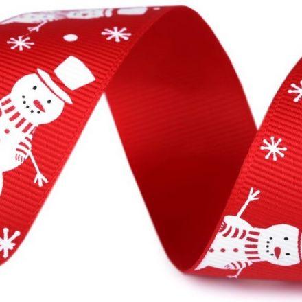Galanterie: Vánoční rypsová stuha šíře 25 mm - sněhulák