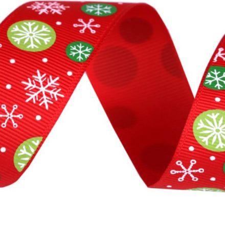 Galanterie: Vánoční rypsová stuha šíře 25 mm - vločka