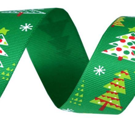 Galanterie: Vánoční rypsová stuha šíře 25 mm - strom