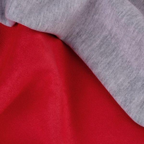 Semiš podložený úpletem - červená