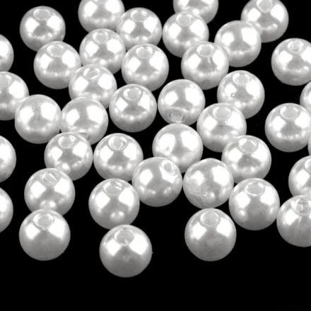 Galanterie: Plastové voskové korálky 8 mm (40ks) - bílá