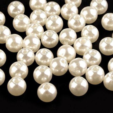 Galanterie: Plastové voskové korálky 8 mm (40ks) - perlová