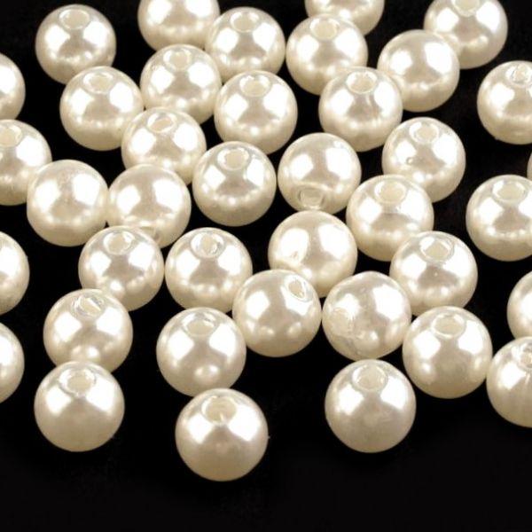 Plastové voskové korálky 8 mm (40ks) - perlová