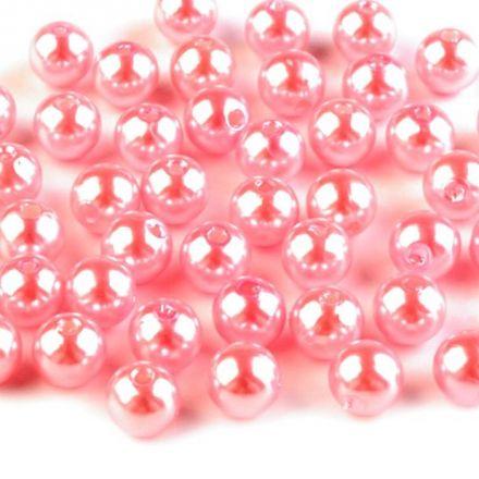 Galanterie: Plastové voskové korálky 8 mm (40ks) - růžová