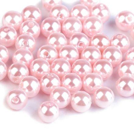 Galanterie: Plastové voskové korálky 8 mm (40ks) - pudrová
