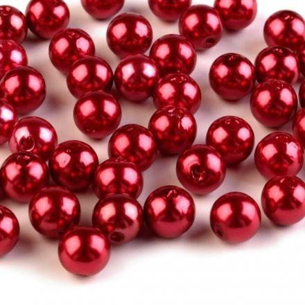 Galanterie: Plastové voskové korálky 8 mm (40ks) - červená