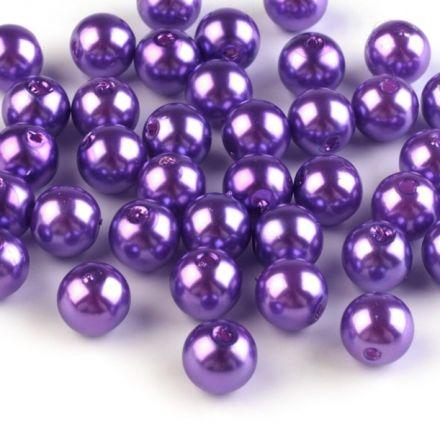 Galanterie: Plastové voskové korálky 8 mm (40ks) - fialková