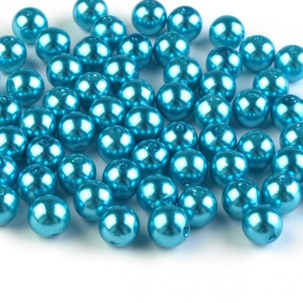 Plastové voskové korálky 8 mm (40ks) - tyrkys