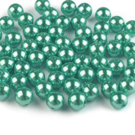 Galanterie: Plastové voskové korálky 8 mm (40ks) - mint