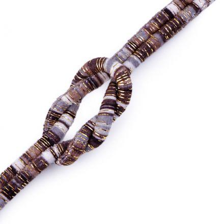 Galanterie: Šňůra kulatá s lurexem 6 mm šedá-černá