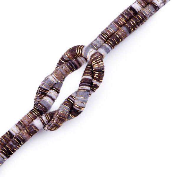 Šňůra kulatá s lurexem 6 mm šedá-černá