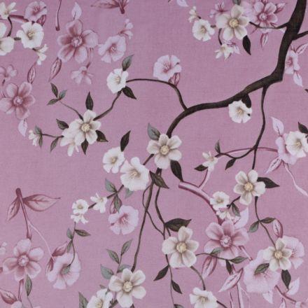 Metráž: Šifón s květy - starorůžová zlatá