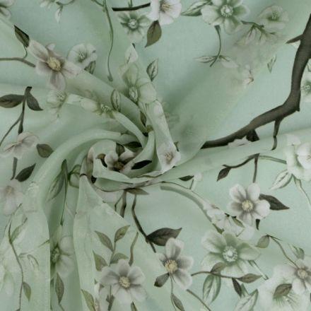 Metráž: Šifón s květy - zelená zlatá