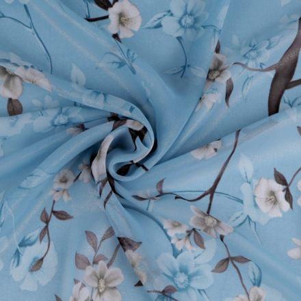 Metráž: Šifón s květy - modrá zlatá