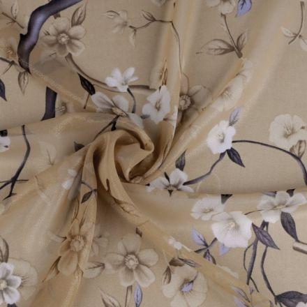 Metráž: Šifón s květy - béžová zlatá