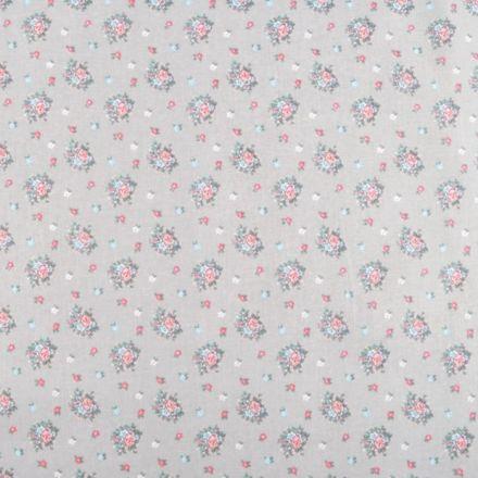 Metráž: Bavlněná látka květinky - šedá