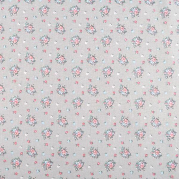 Bavlněná látka květinky - šedá