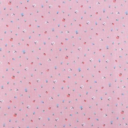 Metráž: Bavlněná látka květinky - růžová