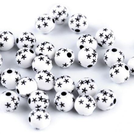 Galanterie: Korálky s hvězdičkami 8 mm (80ks) - bílá