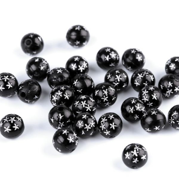 Korálky s hvězdičkami 8 mm (80ks) - černá