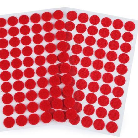 Galanterie: Suchý zip samolepicí kolečka 15 mm - červená