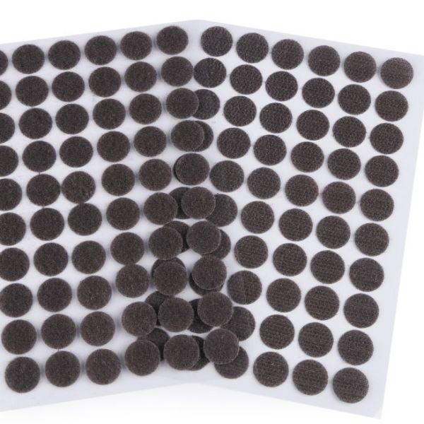 Suchý zip samolepicí kolečka 15 mm - tmavě šedá