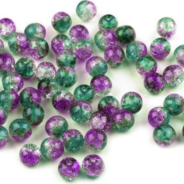 Skleněné korálky 6mm (35 ks) - fialová