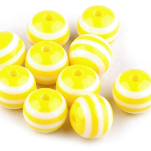 Plastové korálky 12mm (10ks) - žlutá