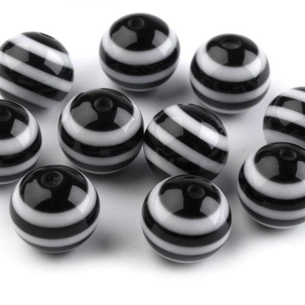 Plastové korálky 12mm (10ks) - černá
