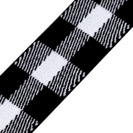 Galanterie: Pruženka káro šíře 25 mm - černobílá