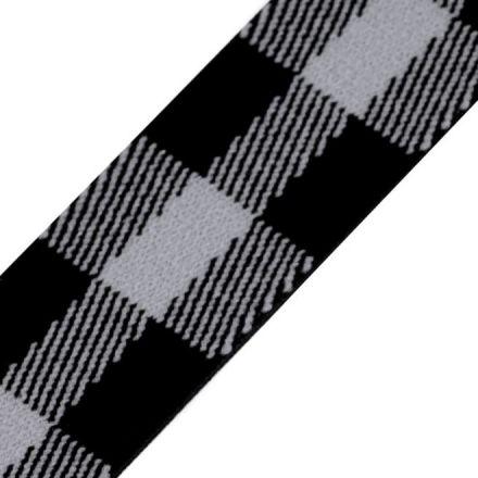 Galanterie: Pruženka káro šíře 25 mm - černošedá světlá