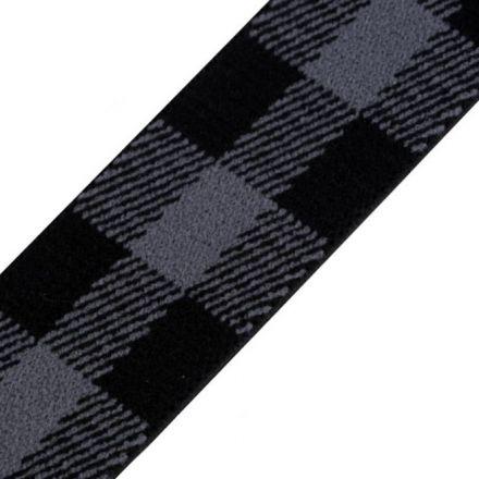Galanterie: Pruženka káro šíře 25 mm - černošedá tmavá